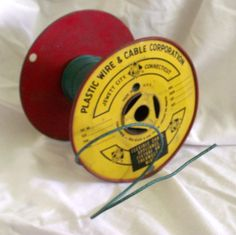 Vintage Red and Yellow Metal Spool of Green by DistressedDonna, $12.00
