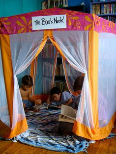 If I have the space for this in my future classroom, I would love to have something like this. This establishes a quiet space that is secluded from the rest of the class. Children love making forts and tents, so I think they would find this space fun and would want to go there to read.