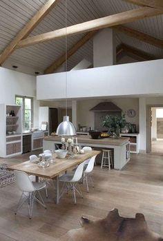 Cucina e soggiorno open space - Cucina soggiorno dal design nordico