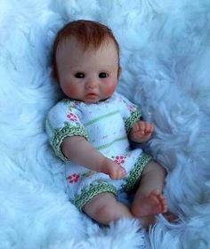 """Miniature OOAK hand SCULPTED newborn BABY girl clay ART doll NOT TOY*RAELIE* 4"""""""