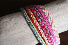 Manchette TEHYA, brésilien et tissage de Miyuki · Bracelets · Boutique L'Amérindienne · Création et vente de bijoux fantaisie faits main