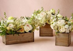 Wooden Box Planters - Wedding Decor by BHLDN - Loverly I love the wooden planters for low budget, low height centerpieces Flower Box Centerpiece, Wooden Box Centerpiece, Wooden Planter Boxes, Centerpiece Decorations, Table Centerpieces, Wedding Decorations, Wooden Flower Boxes, Wooden Wedding Centerpieces, Quinceanera Decorations