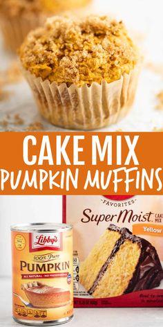 Cake Mix Muffins, Pumpkin Muffins Cake Mix Recipe, Cake Mix Cookies, Easy Pumpkin Muffins, Easy Pumpkin Cake, Easy Pumpkin Desserts, Pumpkin With Cake Mix, Yellow Cake And Pumpkin Recipe, Pumkin Cake