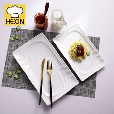 ceramic serving platter is kitchen dish. High quality & durable serving platters in different styles and sizes are perfect for restaurants and hotels. Appetizer Plates, Dinner Plates, Appetizers, Rectangle Plates, Kitchen Dishes, Serving Platters, Dinnerware, Catering, Commercial