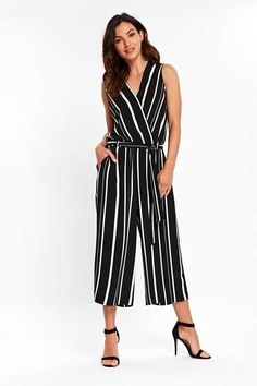 Pinterest Wrap Jumpsuit, Office Looks, Striped Pants, Wardrobe Staples, Black Stripes, Going Out, Night Out, Dress Up, Size 10