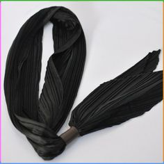 Satin Material Black Solid Color Crinkle Skinny Scarf with PU Holder