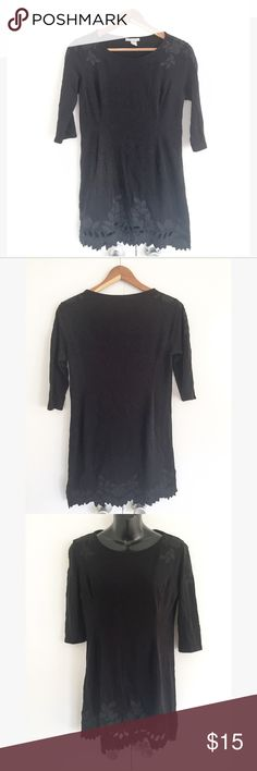 H&M black long sleeve dress Good condition  Size S  Black  Mid length sleeves  Leaf designs on dress H&M Dresses Mini