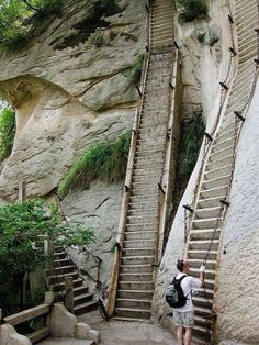 Stairs leading up Mt. Huashan, China Places To Travel, Places To See, Travel Destinations, Places Around The World, Around The Worlds, Sacred Mountain, Stone Mountain, Mountain High, Mountain Range