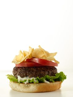 Potato chips on a burger! With ranch dressing and lettuce it's a winning combo. #recipes