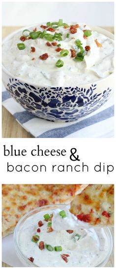 Blue Cheese Bacon Ranch Pizza Dip--comes together so easy & takes pizza over the top!