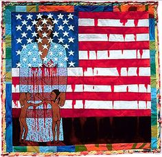 'The Flag Is Bleeding': A very terrifying, strange, and beautiful painting by incredible artist Faith Ringgold.   #art #blackart #liveunchained