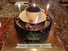 My friends got me this beautiful coffee themed cake for my birthday. Coffee Theme, Coffee Cake, Themed Cakes, Cake Ideas, Birthday Candles, Happy Birthday, Baking, Friends, Simple