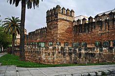 The Murallas - City Wall - Seville Spain  Sidewalks and palm trees line the outer Murallas, or city wall, that protected Seville, Spain for centuries. This section runs along Calle Magdalena.