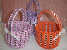 Delicadezas en crochet Gabriela: Agarraderas y cesta en crochet