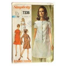Simplicity 7336 Vintage 1960s Mod Dress Sewing Pattern Bust 31 A Line