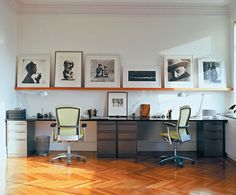 office- what I like about this is the really long shelf above the desks. #Life Chairs