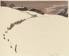 Wooden Cottages in the Snow, 1920's, Engelbert Lap  (Austrian,1886 -1970) woodcut