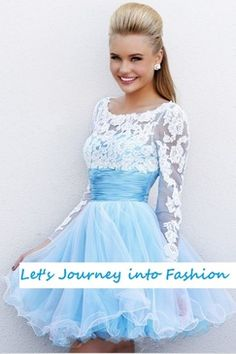 Prom Lace Long Sleeve short cocktail and party dress wedding homecoming dress #prom2014 #promdress