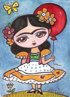 Frida Kahlo and Red Balloon - Original 5x7 Print from my Painting Girls room art  childrens art. 9.50, via Etsy.