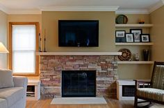 12 Brick Fireplace Makeover-Ideas To Update Your Old Fireplace – Home and Gardening Ideas-Home design, Decor,remodeling,improvement-Garden and outdoor Ideas Brick Fireplace Decor, Fireplace Update, Brick Fireplace Makeover, Old Fireplace, Fireplace Remodel, Fireplace Design, Stone Fireplaces, Fireplace Ideas, Mantle Ideas