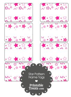 Pink Star Pattern Name Tags from PrintableTreats.com