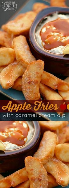 These Apple Fries with Caramel Cream Dip from Favorite Family Recipes are a must make this fall! The apples slices get lightly battered, fried and sprinkled with your favorites â cinnamon and sugar!