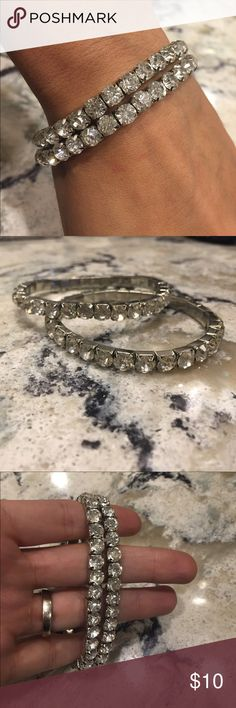 """""""An evening on the town""""stackable bling bracelets These stretch bracelets are the Perfect way to add that extra bling to your evening outfit! Check out my other listings, bundle and save! Jewelry Bracelets"""