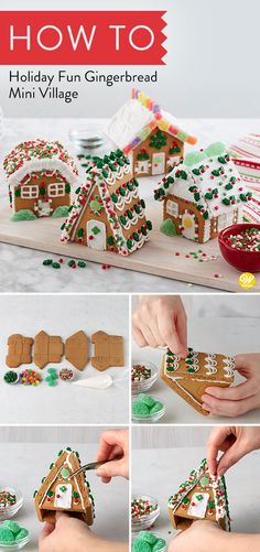 Bring more excitement to the holidays decorating a four house gingerbread village! It's a great group activity and festive fun for any special event—family night, kids' get together, girls' night out, team and church parties. #wiltoncakes #gingerbreadhouse #gingerbreadhousetechniques #gingerbreadhouseparty #gingerbreaddesign #gingerbreadhouses #candy #gingerbreadhouseideas #gingerbreadhousedecorating #christmas #holidays #tradition #familyfun
