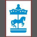 Bebê justo das crianças da equitação do campo de jogos da criança de Kermis do cavalo do carrossel