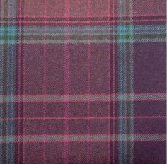 Checked Purple Wool Curtain and Upholstery Fabric | Iona Purple Ling Plaid from Loome Fabrics