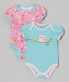 Take a look at this Pink & Blue Woodland Owl Bodysuit Set on zulily today!