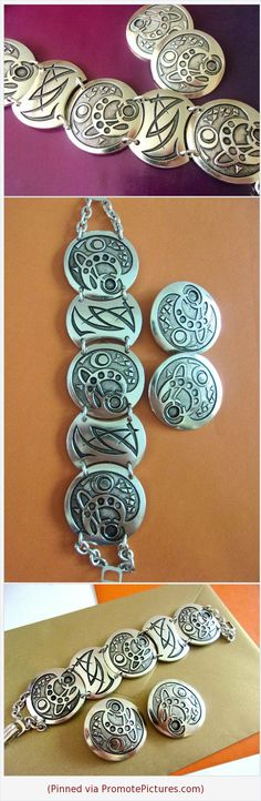 Eloxal Aluminum Bracelet Earring Set, German Modernist Carving, Silver, Vintage #jewelryset #bracelet #earrings #eloxal #aluminum #carved #germany #vintage #silver #modernist https://www.etsy.com/RenaissanceFair/listing/551930532/eloxal-aluminum-bracelet-earring-set?ref=listings_manager_grid  (Pinned using https://PromotePictures.com)