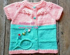 Hand knitted baby vest, 6-12m Baby Boutique Vest, baby girl clothes, unique baby clothes, baby knitted clothes , baby cardigan