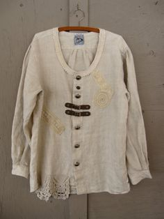 Linen tunic upcycled clothing Funky lagenlook shirt Artsy