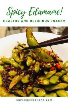 Yummy Snacks, Healthy Snacks, Spicy Recipes, Healthy Recipes, Edamame, Beverages, Veggies, Explore, Eat