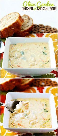 Chicken and Gnocchi Soup Olive Garden Copycat Recipe. My favorite olive garden soup! Copycat Recipes, Crockpot Recipes, Soup Recipes, Cooking Recipes, Chef Recipes, Chicken Recipes, Dinner Recipes, Recipe Chicken, I Love Food