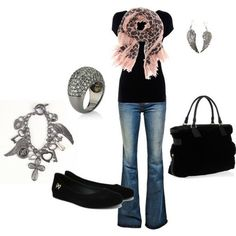 Any kind of Jeans and plain tee with flats and a scarf. My kind of look.