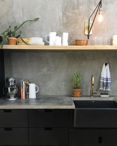 I like the look of concrete countertops annnnd concrete walls now too! #fixerupper #seasonfouriscoming