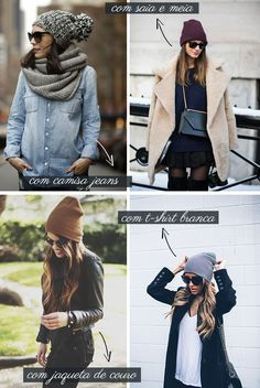 Gorros-inverno-2015 Look Fashion, Urban Fashion, Girl Fashion, Fashion Outfits, Street Style Shop, Casual Street Style, Fall Winter Outfits, Autumn Winter Fashion, Winter Looks
