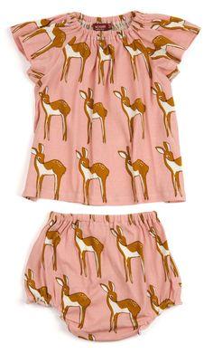 MilkBarn Baby Organic Cotton Dress and Bloomer Set - Pink Doe