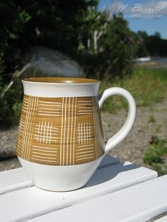 60's Denby stoneware white and tan accent mug.