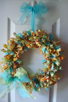 Fabric Wreath- blues, greens, oranges and yellows  $25.00