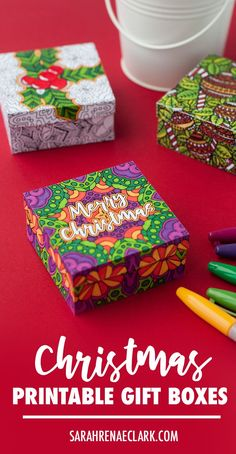Make your own Christmas gift boxes to color in for a  Christmas gift! | Get the template and see the tutorial at www.sarahrenaeclark.com #christmas