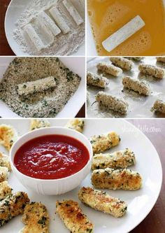 Best finger food with a little LESS guilt! Healthier cheese/mozzarella sticks. | via @skinnytaste #recipe #appetizer