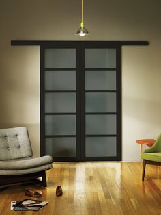 Smoked Frosted Glass Wall Slide Doors | The Sliding Door Co.