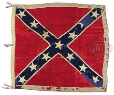 "Army of Northern Virginia Battle Flag of the 9th Virginia Cavalry.  50"" x 47"".  Made of wool bunting with cotton double appliqué 4.5"" stars.  Flag was offered through direct descendent of Walter Scott Callis, the last color bearer."