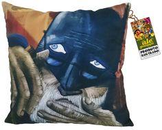 Almofada Batman 75 anos. Outra ilustra que virou produto. Almofada em tecido panamá, com 45 x 45 cm e zíper invisível. www.elo7.com.br/alegrazianiprodutoilustrado