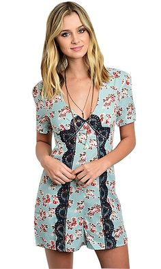 Signature Women's Short Sleeve Crochet Floral Romper