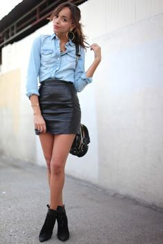 jean shirt leather skirt - Buscar con Google