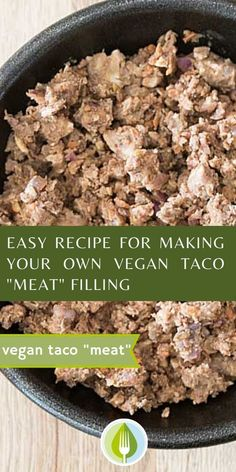 """Easy vegan taco """"meat"""" - I love this easy vegan meet substitute for tacos, burritos and even for casseroles.  Healthy and plant-based recipe."""